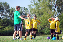 Coaching Soccer techniques.